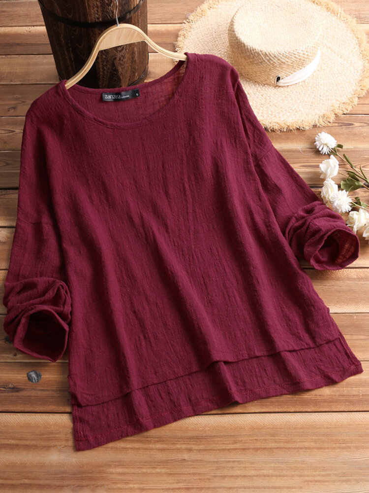 Retro Women Scoop Neck Long Sleeve Pure Color Side Slit Baggy Shirts