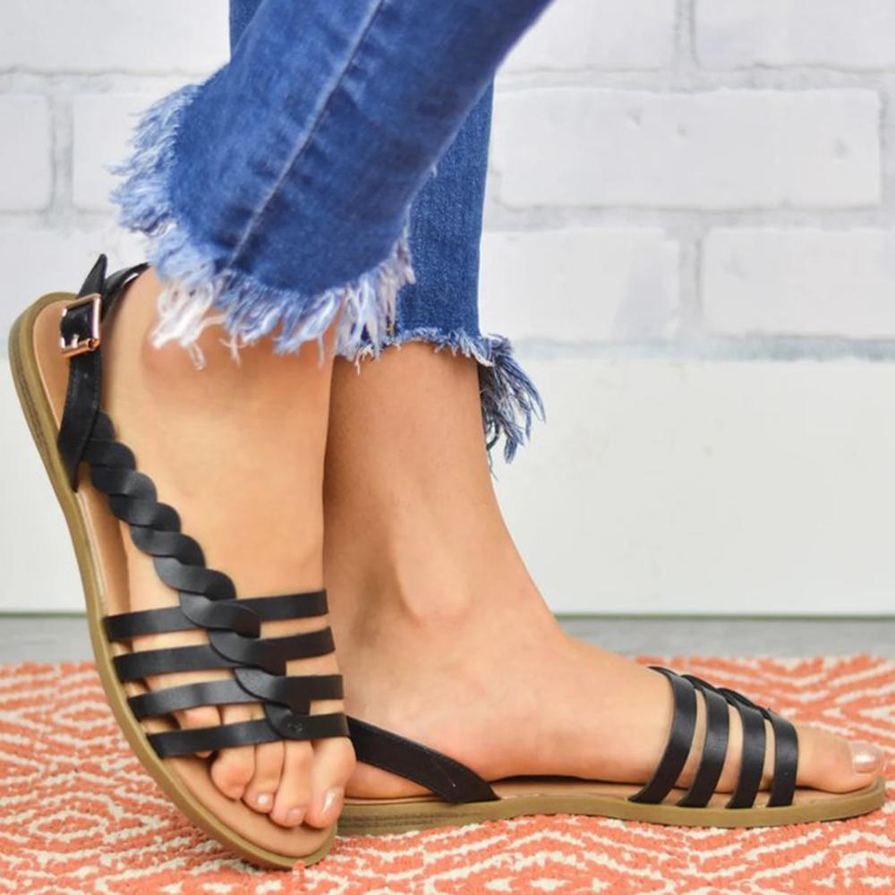 Women Strappy Lace Up Fashion Summer Beach Causal Sandals - 6