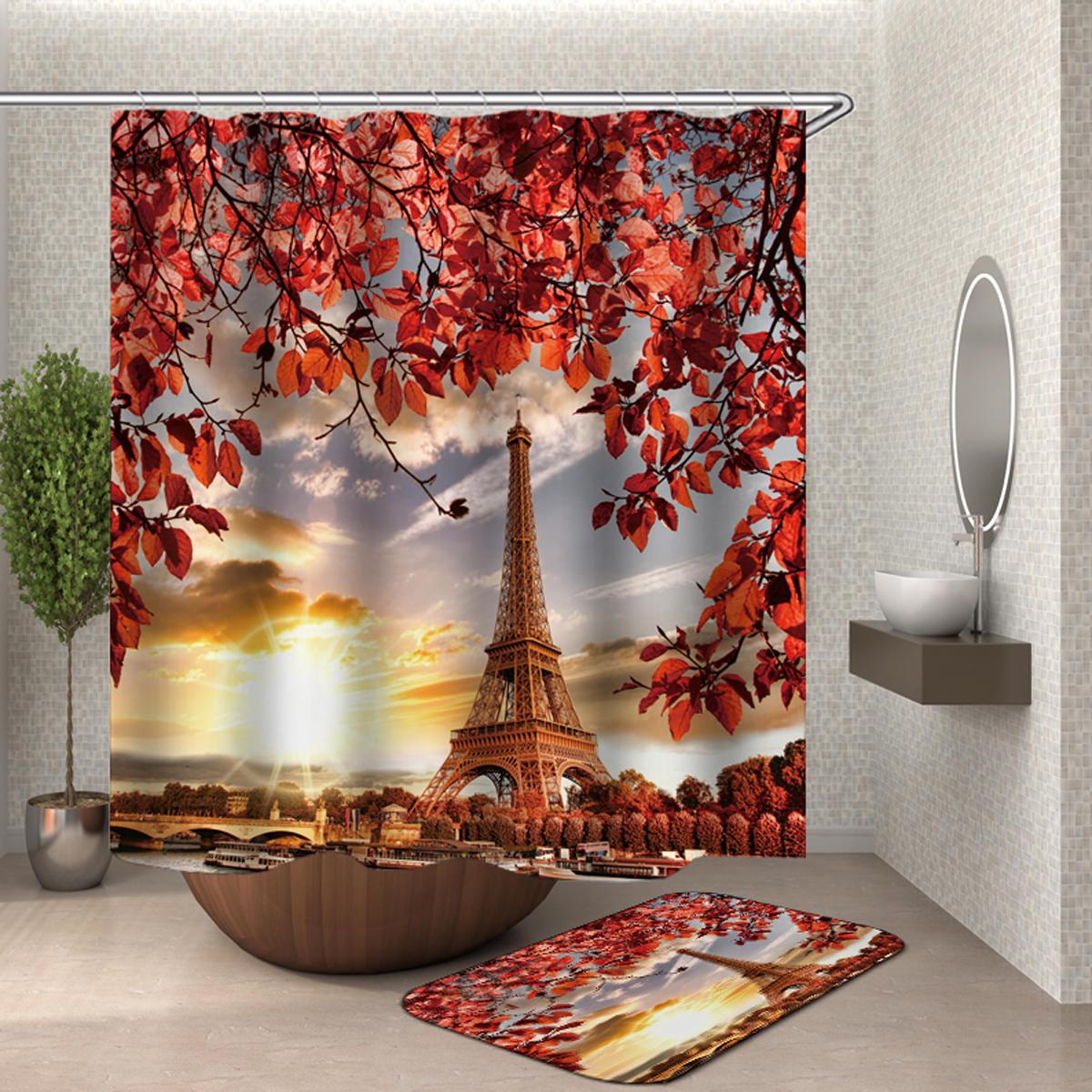 3D Tree and Eiffel Tower Dusk Impreso Cuarto de baño Impermeable Cortina de ducha Alfombras de baño antideslizantes Alfombras Alfombras de pedestal Cubierta del asiento del inodoro - 2