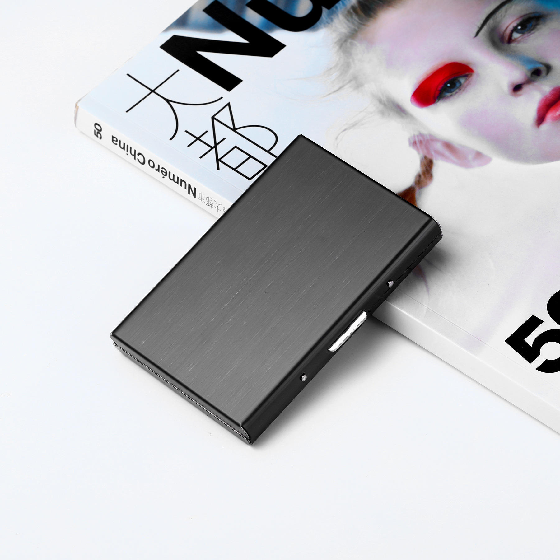 Metal Stainless Steel Black Titanium Business Card Holder Credit Card Cover ID Name Card Holder Case Storage Box - 5