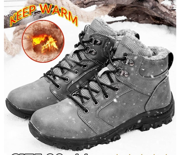 Men's Winter Keep Warm Waterproof Non-Slip Black Combat PU Leather Lace Up Jungle Hiking Snow Boots - 1