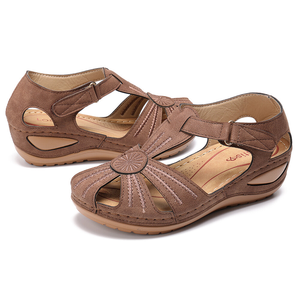 LOSTISY Women Wedges Shoes Splicing Casual Comfy Sandals - 6