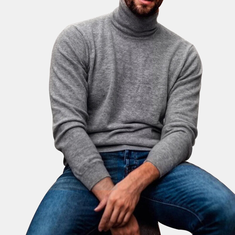 Mens Cotton Fashion High Collar Solid Color Casual Sweaters - 1