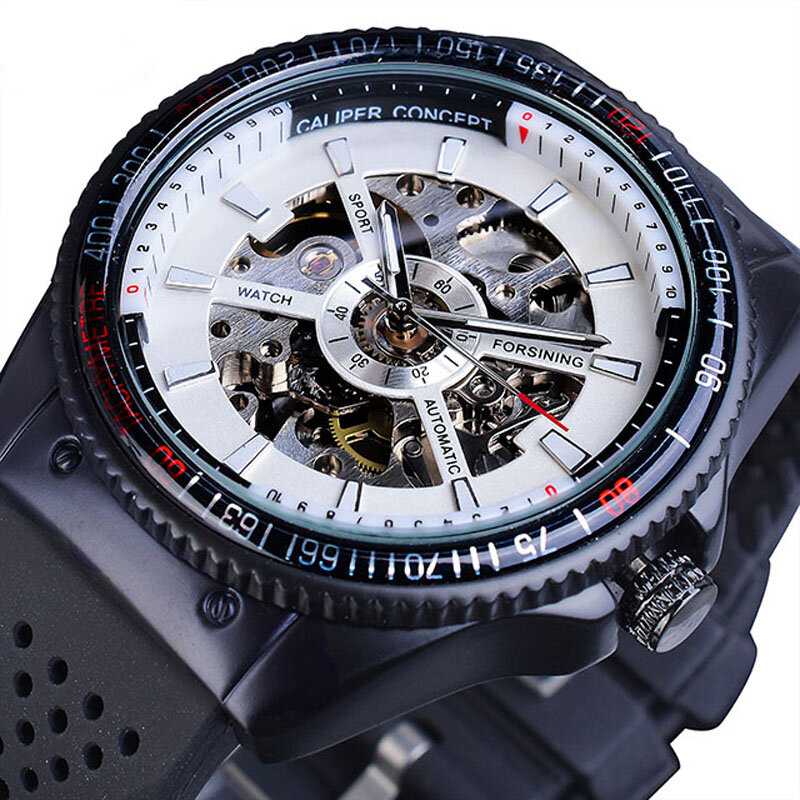 Forsining GMT963 Fashion Men Watch Silicone Band Automatic Casual Mechanical Watch - 2