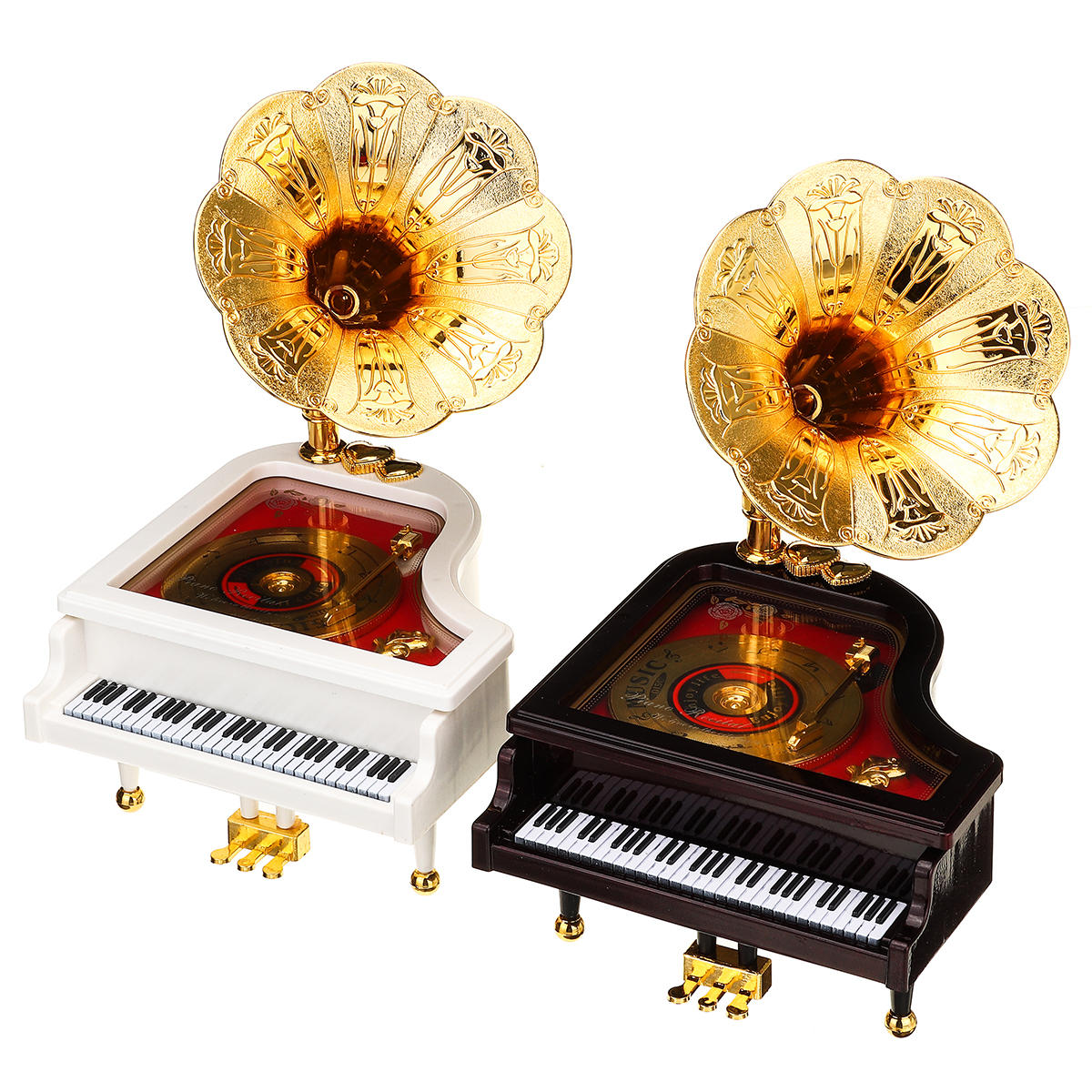 Vintage Retro Piano Phonograph Gold Trumpet Horn Music Box Home Decorations, Banggood  - buy with discount