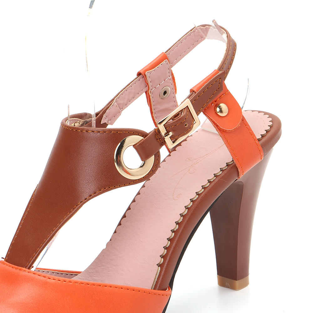 Women Plus Size Color Splicing Peep Toe Casual Summer Heeled Sandals - 11