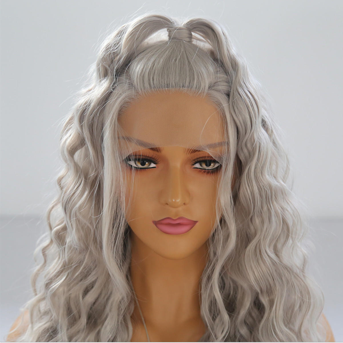 24 '' Frontale in pizzo ondulato naturale da donna Parrucca Girls Golden Blonde Curly Synthetic Capelli - 4