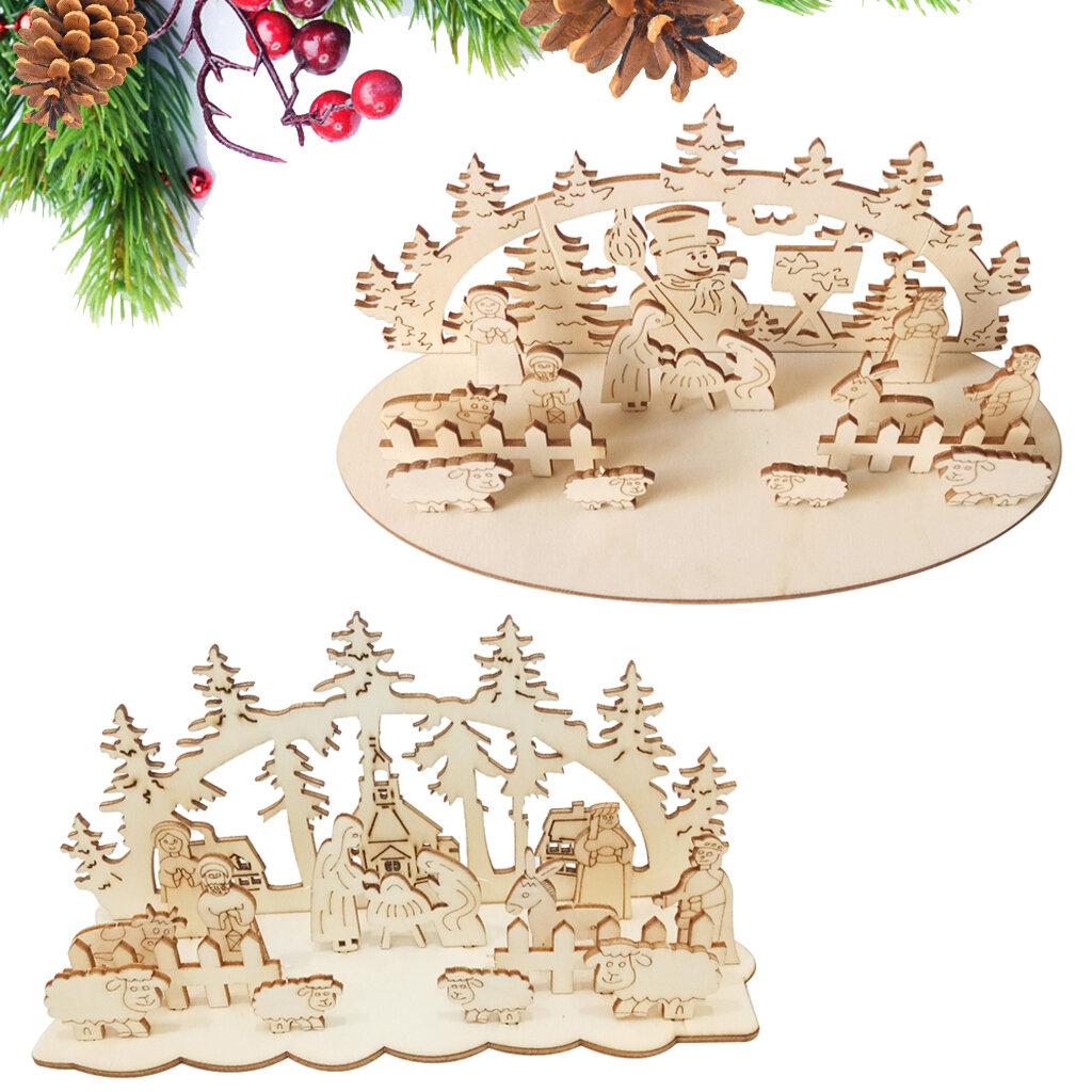 Loskii JM01692 DIY Christmas Wooden Toy Xmas Funny Party Desktop Decorations Christmas Wooden Ornaments - 1