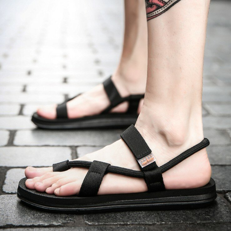 Men Cowhide Spicing Breathable Hollow Out Non-slip Casual Sandals - 1