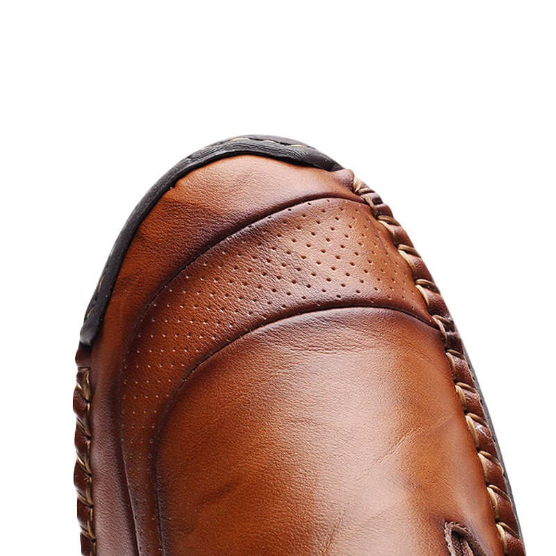 Menico Casual Comfy Soft Moc Toe Slip On Leather Oxfords - 6