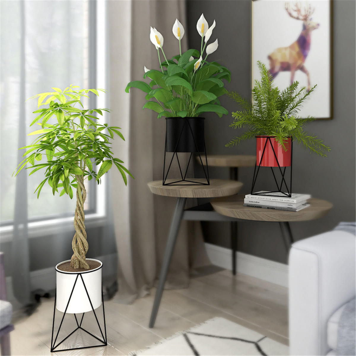 Retro Flower Stand Chic Indoor Garden Metal Plant Holder Display Planter Vase - 5