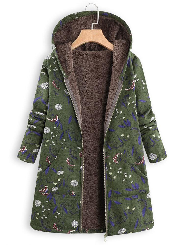 Floral Print Hooded Long Sleeve Pockets Vintage Jacket Coats