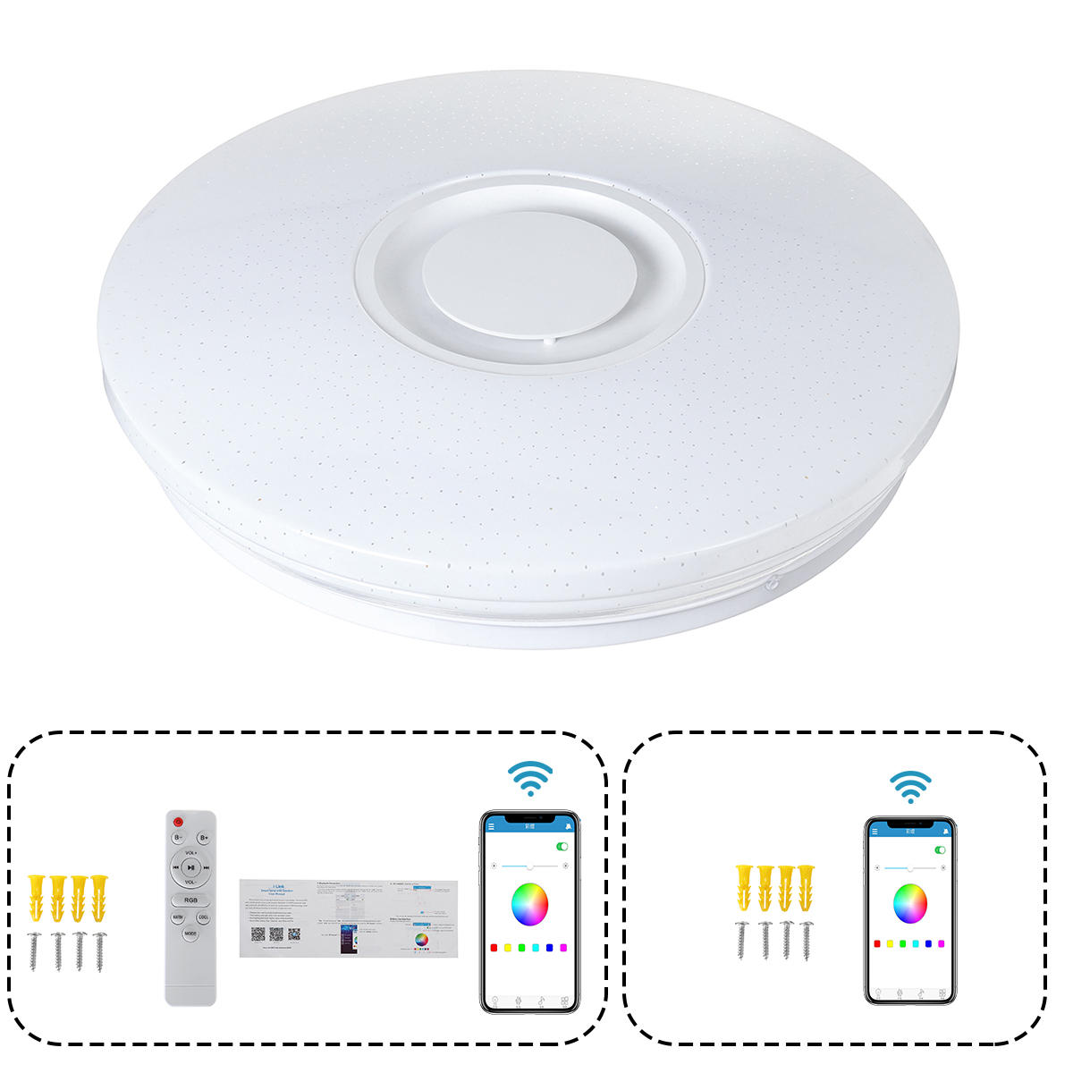 60W Modern Dimmable LED RGBW Bluetooth Music Ceiling Light APP Remote Control - 7