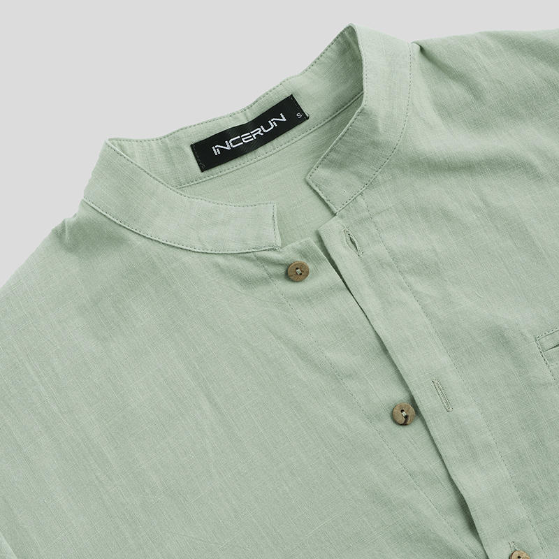 Mens Fashion 100% Cotton Pocket Solid Color Casual Shirts - 7