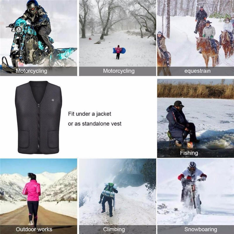 Winter USB Electric Heated Vest Battery Powered Light Weight Warm Motorcycle Coat - 5