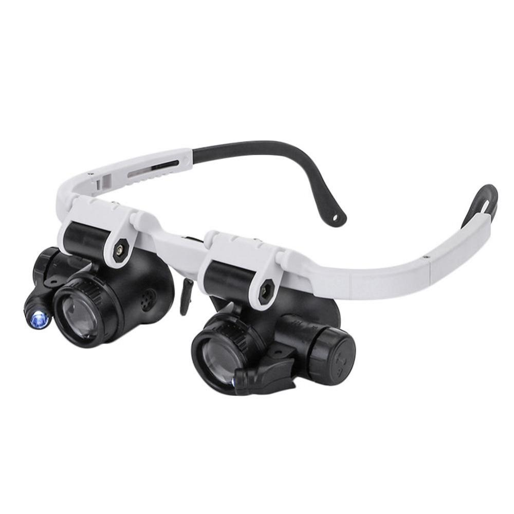 New LED Head-mounted Watch Maintenance Magnifier Glasses Double Eyes Magnifying Glasses With LED Light