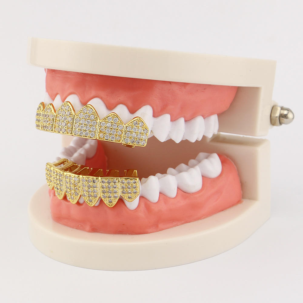 Gold-plated Diamond Braces Geometric Rhinestone Metal Denture Grillz Teeth Jewelry