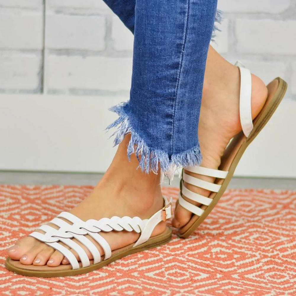 Women Strappy Lace Up Fashion Summer Beach Causal Sandals - 8