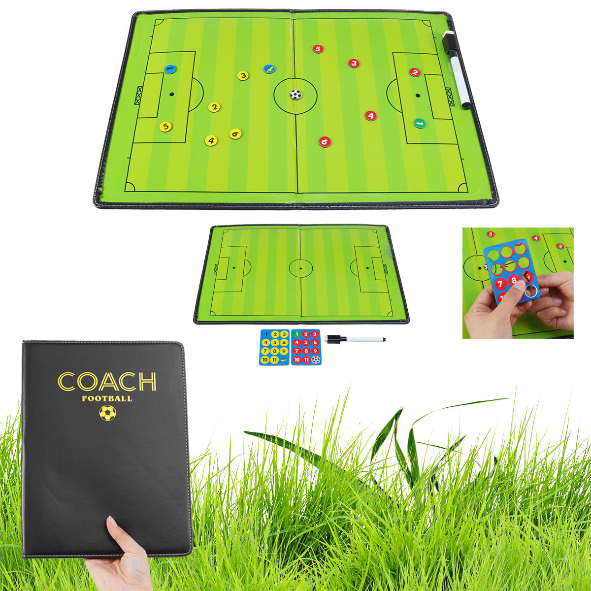 44x32cm Foldable Magnetic Coaching Training Board Tactical Soccer Football Teaching Kit