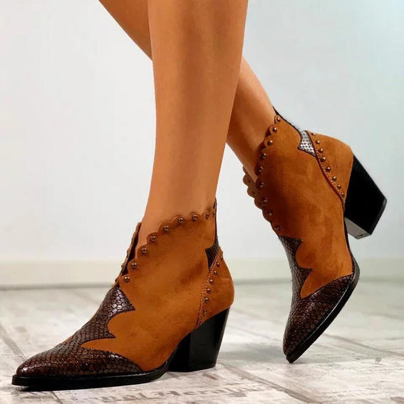 Women Retro Pointed Toe Strappy Chunky Heel Ankle Boots - 4