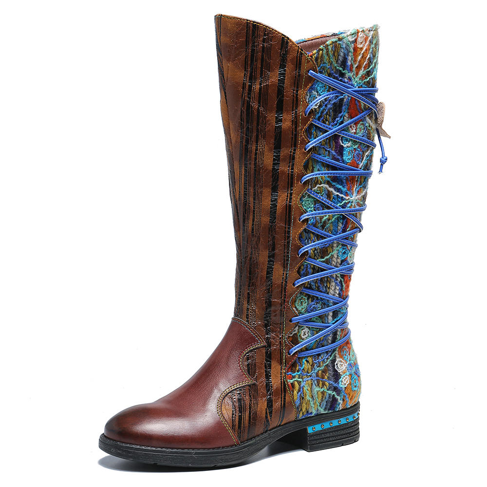 SOCOFY Women Pattern Leather Stitching Comfy Mid Calf Boots фото