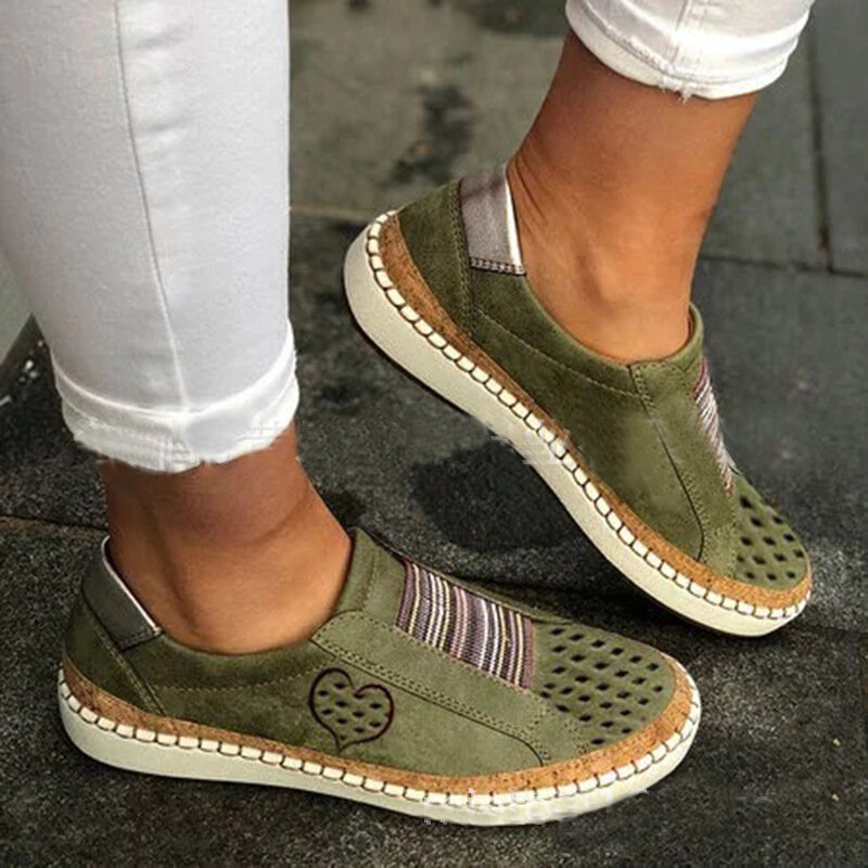 Women Genuine Leather Breathable Plus Size Casual Flats - 1