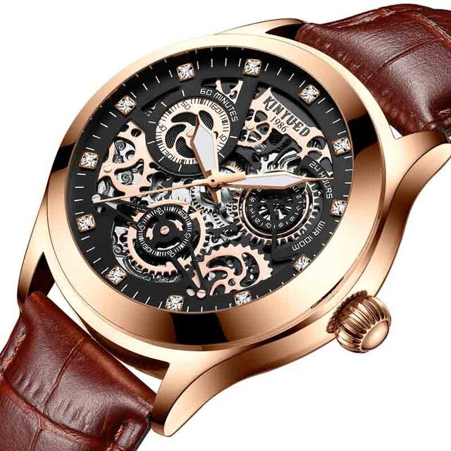 KINYUED JYD-J062 Leather Band Automatic Mechanical Watch  - buy with discount