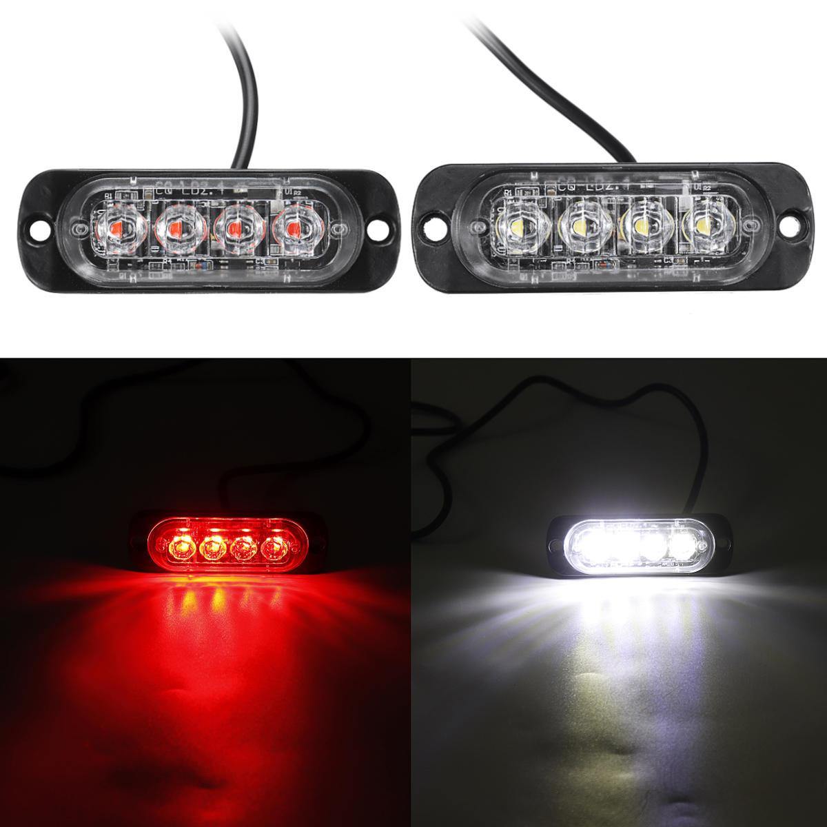 LED Flash Lampu Peringatan Darurat Strobo Merah / Putih 12/24 V Untuk Mobil Truk Sepeda Motor