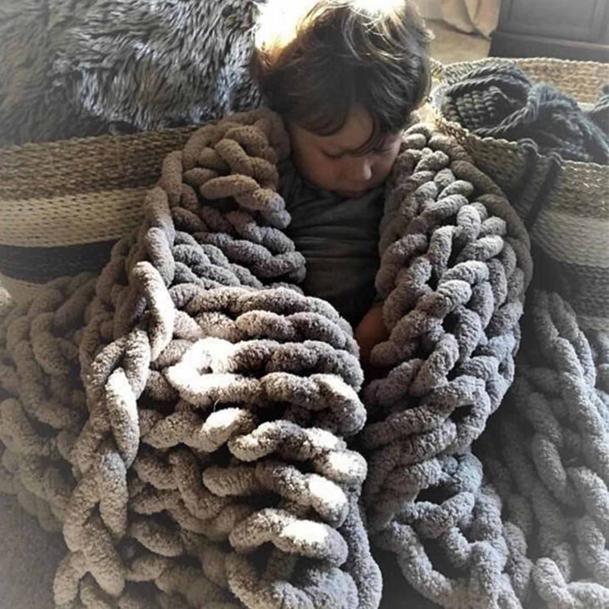 80 х 100см вязаное одеяло ручной работы хлопок Soft моющиеся безворсовые пледы - 2