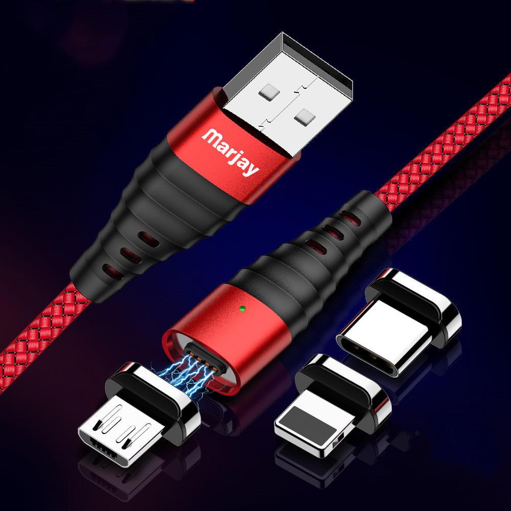 Marjay 3A Type C Đèn LED Micro USB Bện cáp dữ liệu sạc nhanh cho Huawei P30 Pro Mate 30 Xiaomi Mi9 9Pro Redmi 7A Redmi 6Pro 6680466 Y4800