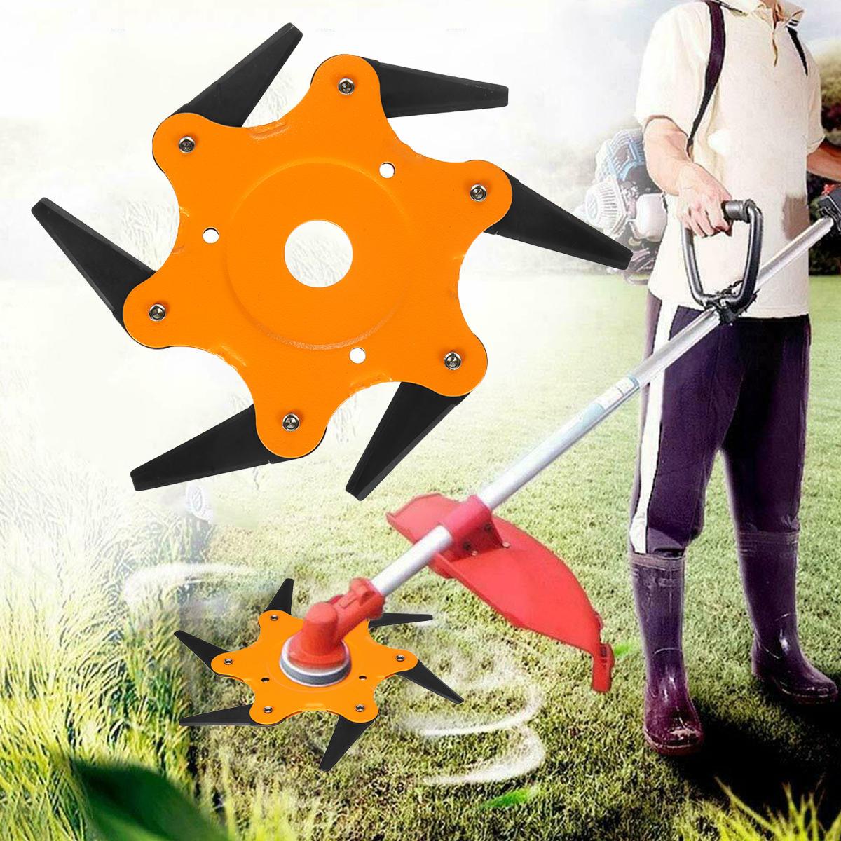 Upgrade Orange 6 Steel Blades Razor 65Mn Lawn Mower Eater Trimmer Head Grass Brush Cutter