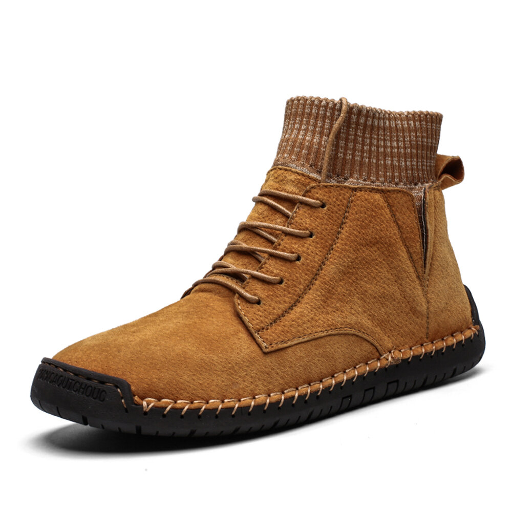Menico Men Hand Stitching Non Slip Metal Buckle Casual Leather Boots - 2