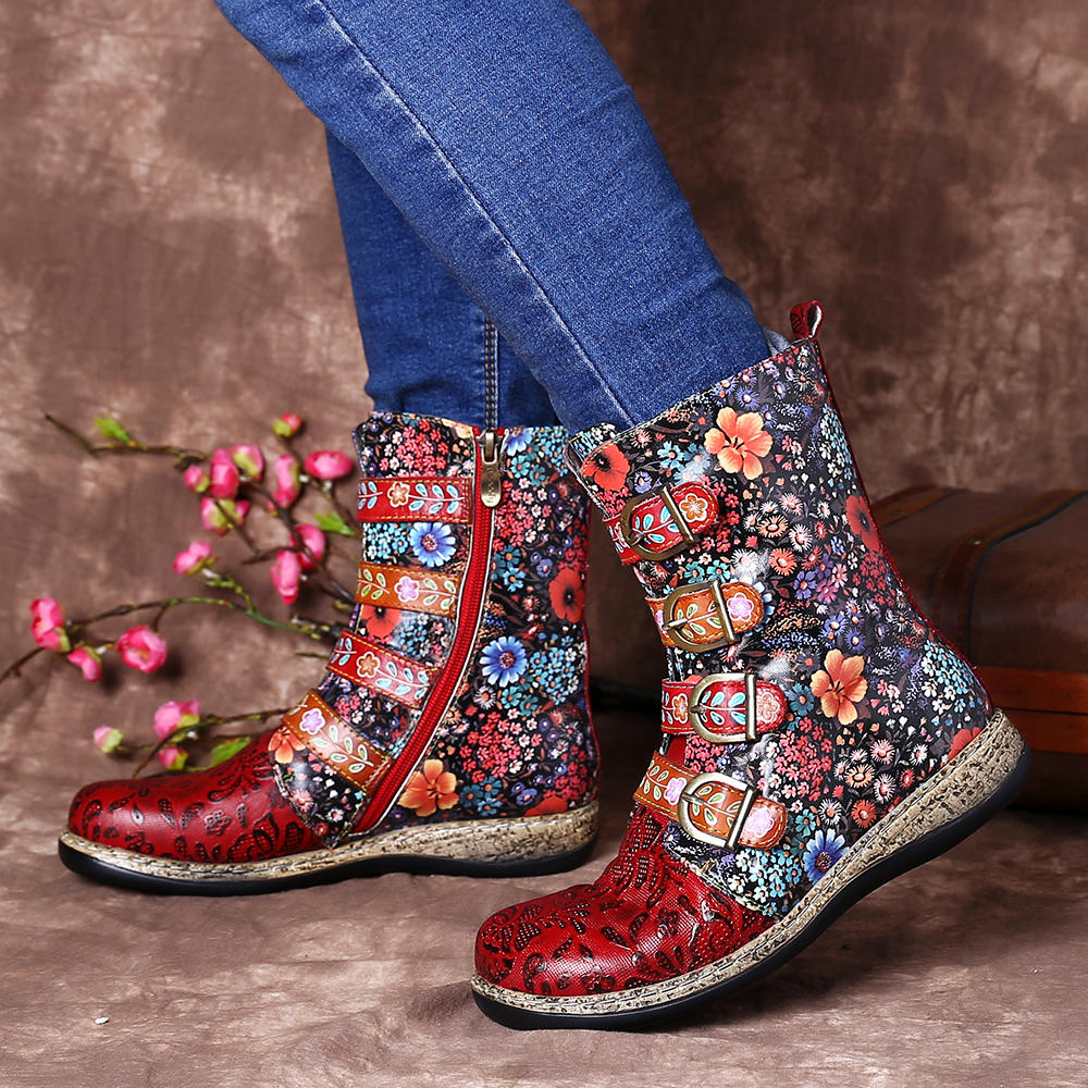 Old Fashion Pure Color Leather Mid-Calf Boots - 5