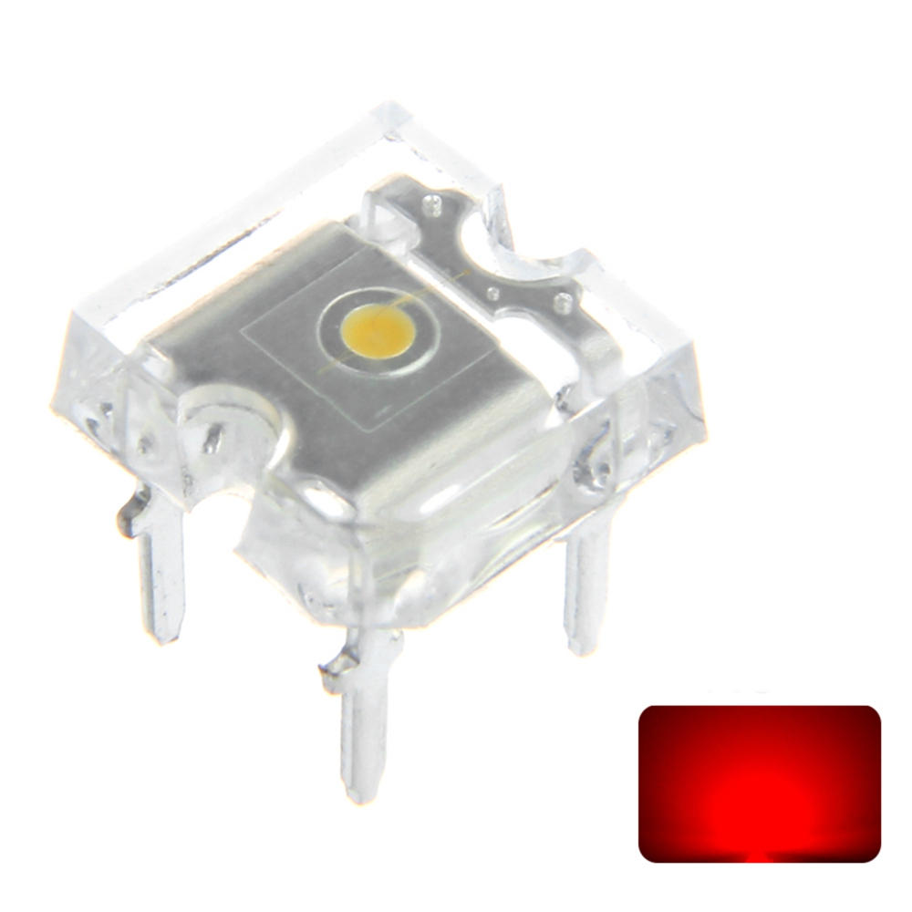 100PCS Flat Top LED Diode Red Transparent 20mA Emitting Lamp Ultra Bright Through Hole Bulb DC2V