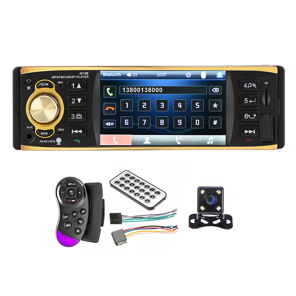 4019B 4 Inch 1080P Car bluetooth MP5 Player Hands Free Calling SD Card U Disk with Rear Camera