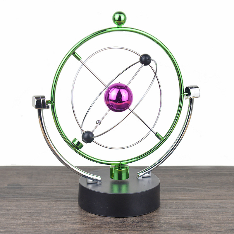 1 Pc Perpetual Motion Instrument Spherical Pendulum Orbital Revolving Ornament Toy Desktop Decorations for Home Office Birthday Gifts - 1