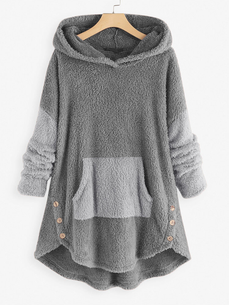 Jacquard Striped Patchwork Button Knit Hooded Sweatshirt - 2