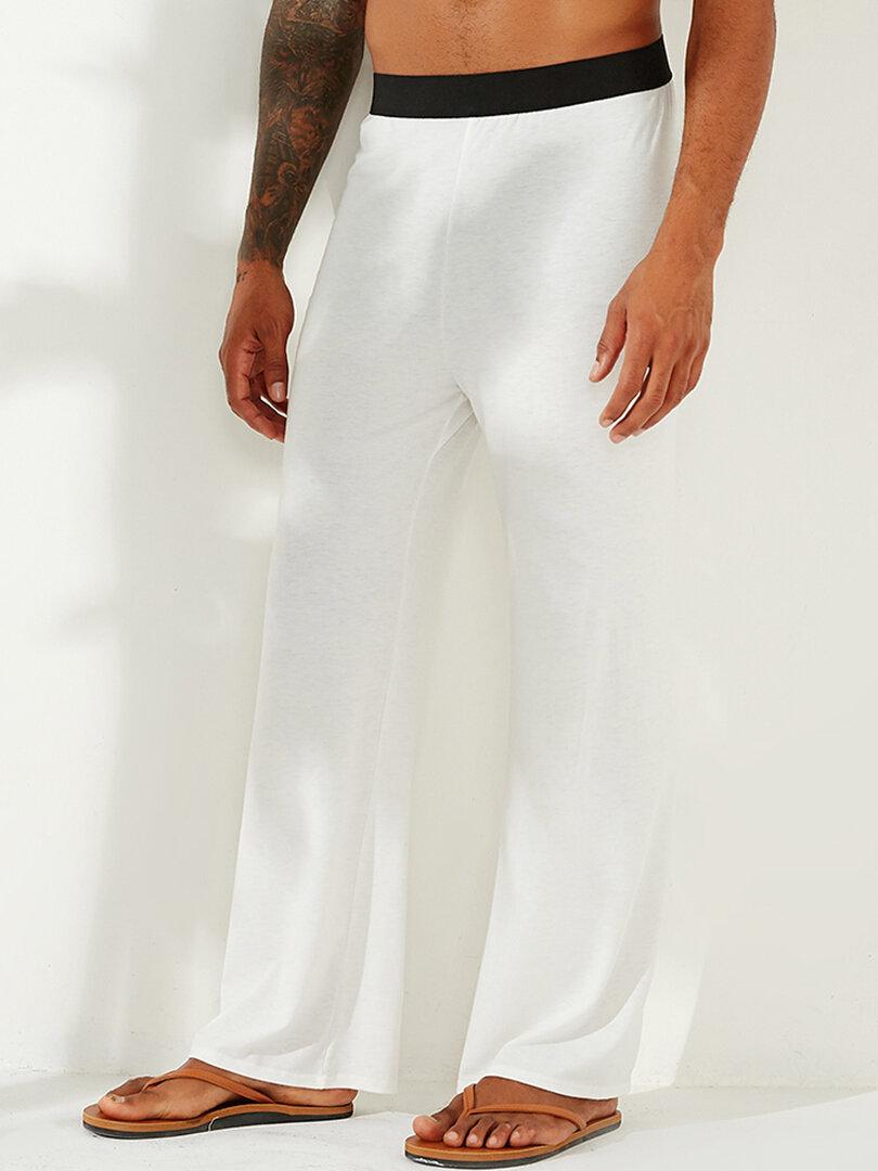 Men Loose Dual Pockets Wide Leg Beam feet Romper Pants - 2