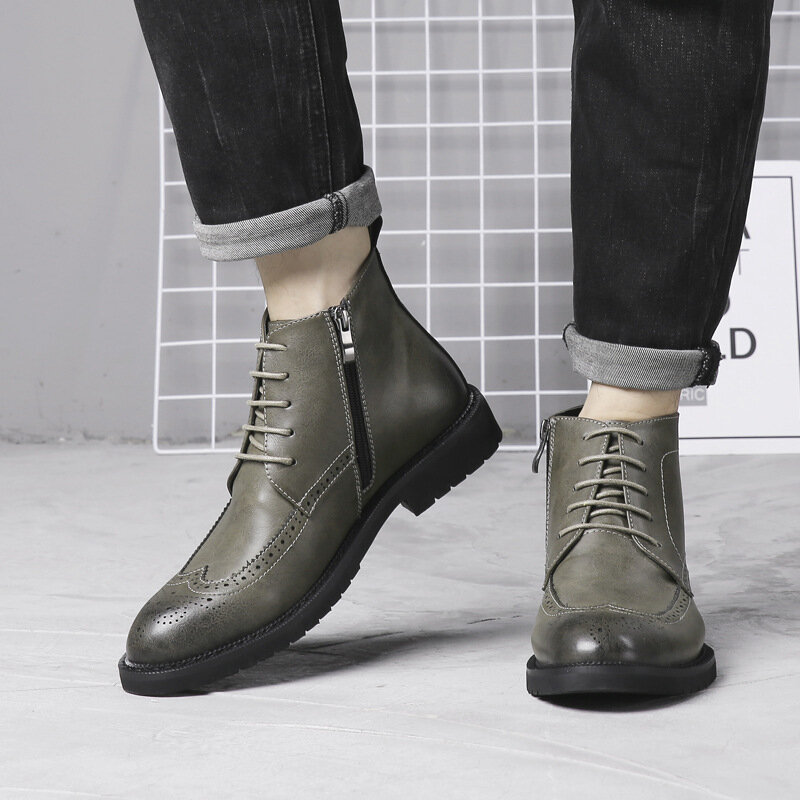 Menico Men Hand Stitching Vintage Microfiber Leather Lace Up Comfy Soft Ankle Boots - 10