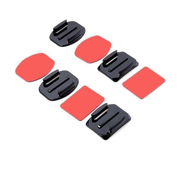 2 flache und 2 gebogene Klebebefestigung mit Klebepads für Gopro Xiaomi Yi SJ4000 Sportkamera - 1