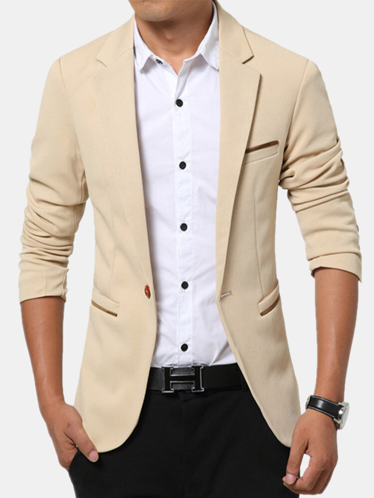 Men's Korean Solid Youth Slim Jacket Small Casual Suits - 1