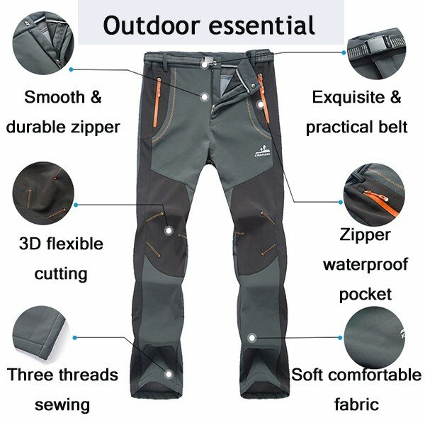 Outdoors Thick Fleece Warm Pants Soft Shell Trousers - 1