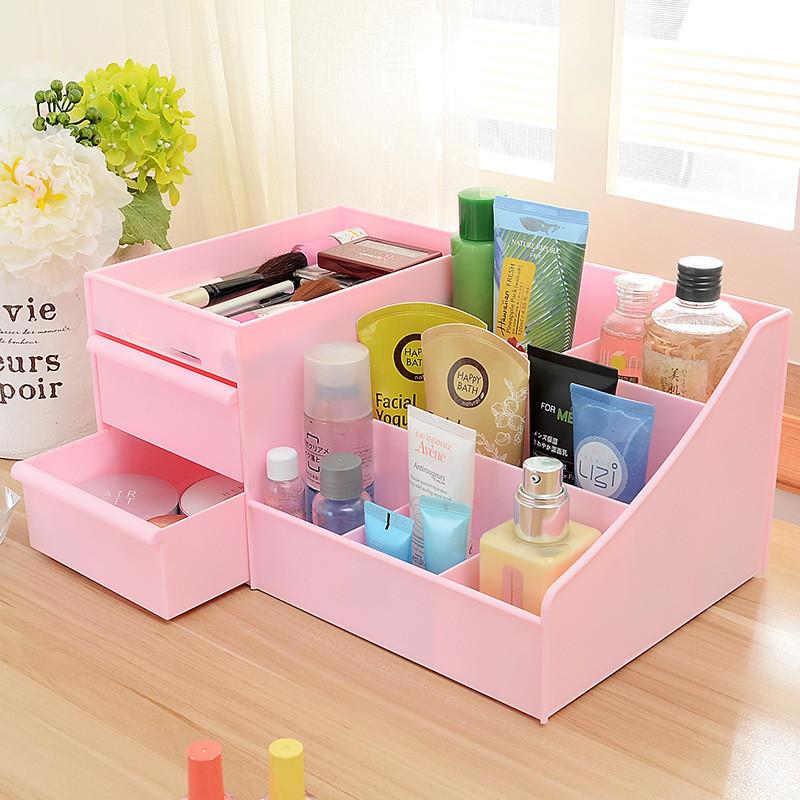 Almacenamiento de cosméticos Caja Cajón Escritorio Plástico Maquillaje Tocador Cuidado de la piel Rack House Organizador Contenedor Teléfono móvil Misceláneas