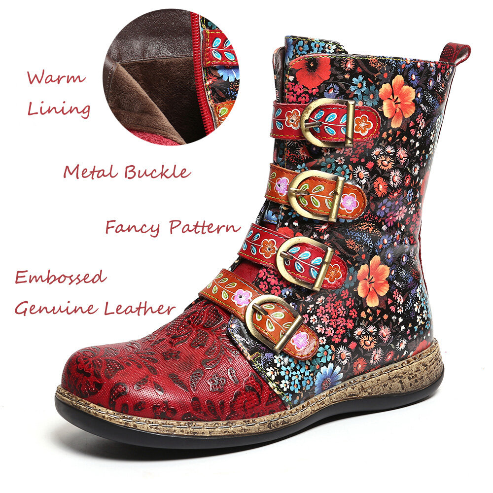 Socofy Women Retro Printed Metal Buckle Genuine Leather Zipper Ankle Boots