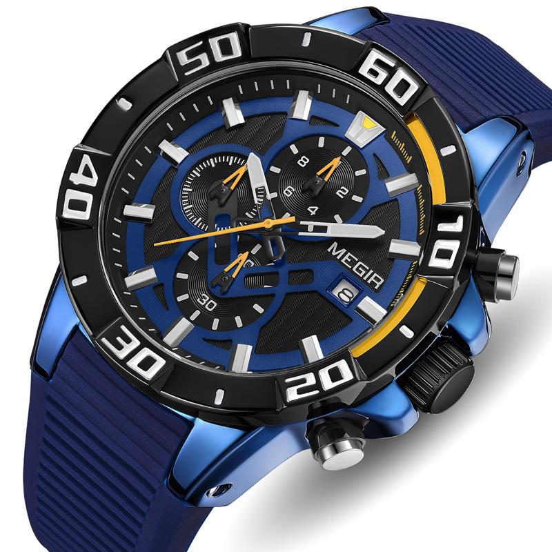 MEGIR 2121 אנלוגי עמיד למים בסגנון צבאי רצועת סיליקון שעון קוורץ שעונים לגברים