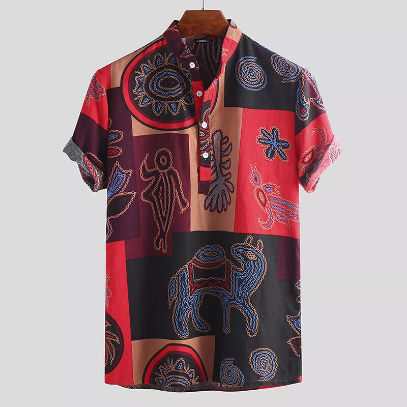 Men's Short Sleeve Blouse Hawaiian Floral Shirts Summer Beach Casual T Shirt Tops - 7