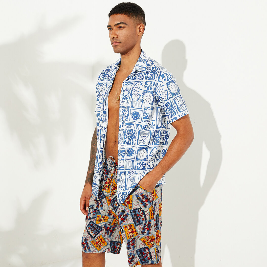 Mens Summer Floral Printed Chest Pocket Turn Down Collar Short Sleeve Loose Casual Shirts - 4