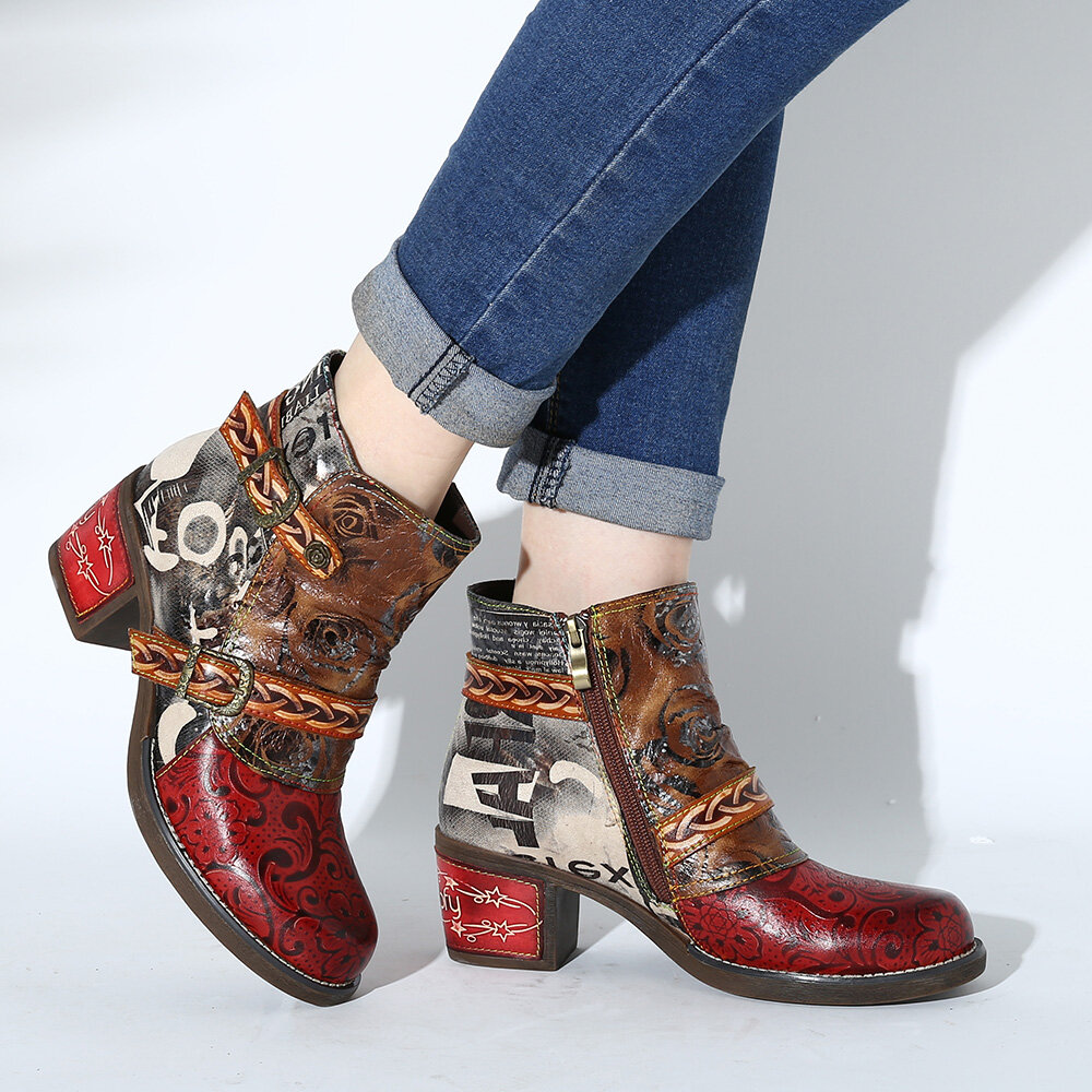 SOCOFY Women Embossed Rose Genuine Leather Splicing Low Heel Ankle Boots