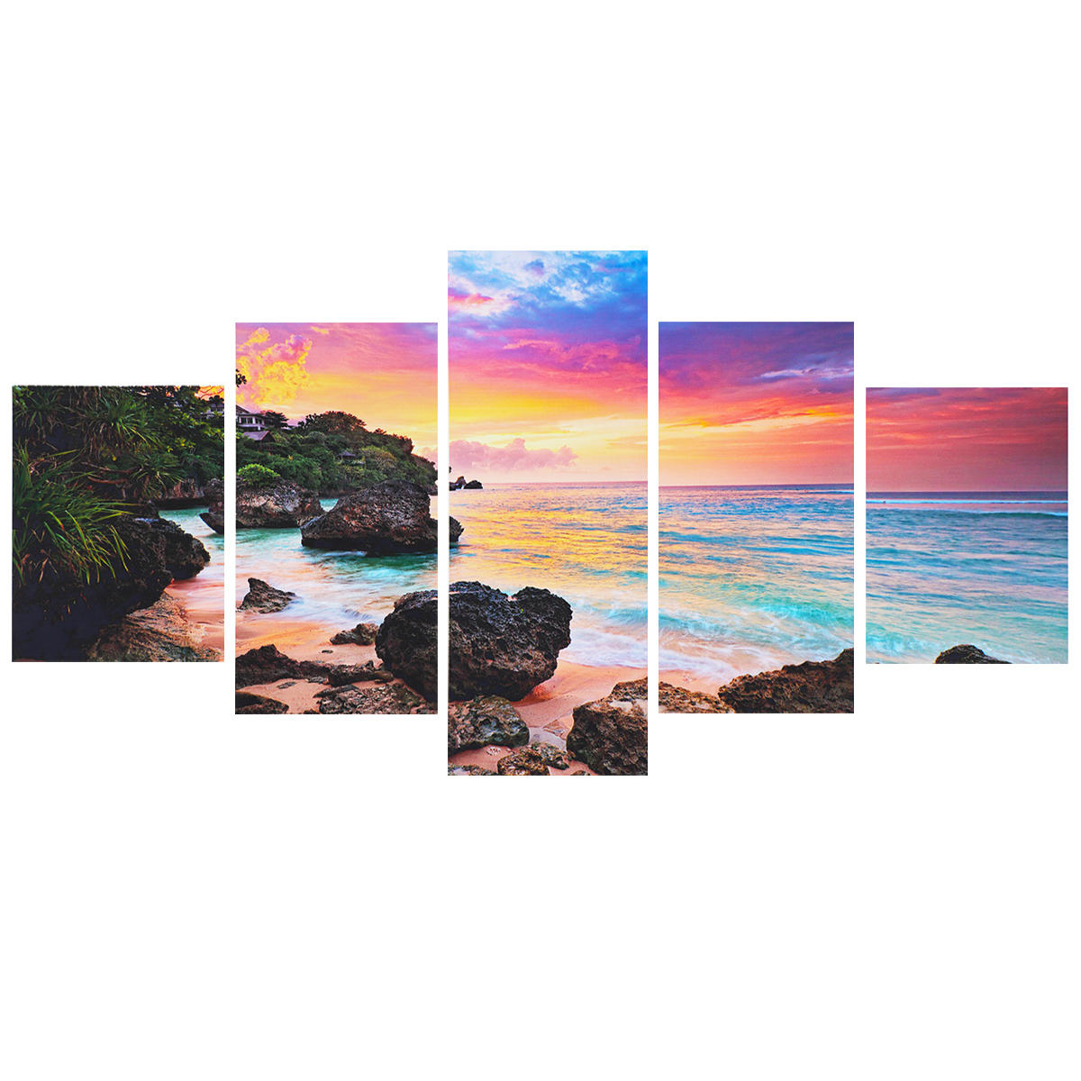 5Pcs Dusk Modern Canvas Print Paintings Wall Art Picture Beach Decorative Painting Murals Home Decoration Unframed