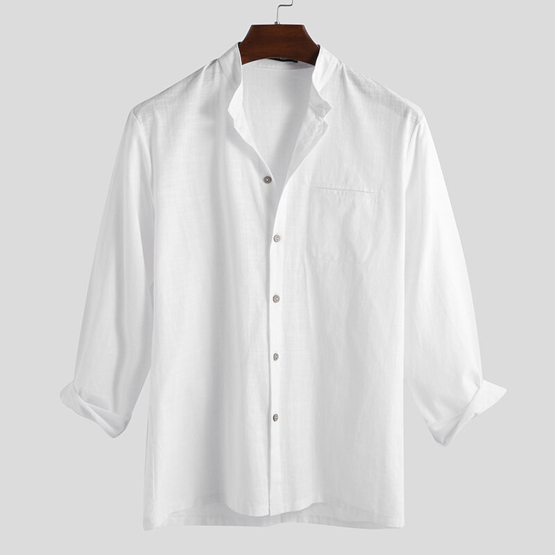 Mens Fashion 100% Cotton Pocket Solid Color Casual Shirts - 1